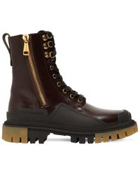 Dolce & Gabbana 40mm Brushed Leather Combat Boots - Brown