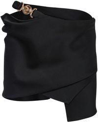 Versace Asymmetrical Satin Mini Skirt - Black