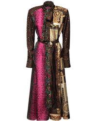 Versace - Patchwork シルクツイルドレス - Lyst
