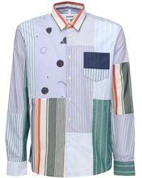 Soulland アップサイクルパッチワークコットンシャツ - ブルー