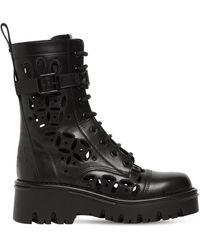 Valentino Garavani 50mm Atelier Leather Combat Boots - Black