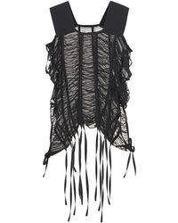 Noir Kei Ninomiya Top De Georgette Fruncido - Negro