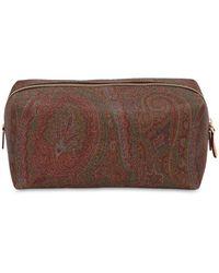 Etro Paisley Print Coated Cotton Makeup Bag - Brown