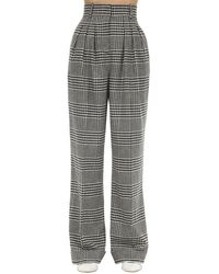 Emilia Wickstead Checked Wool Blend Palazzo Pants - Серый
