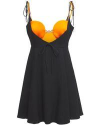 Versace Мини-платье Из Атласа - Черный