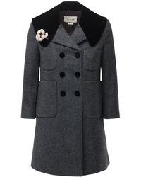 Gucci Шерстяное Пальто С Бархатными Деталями - Серый
