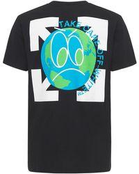 """Off-White c/o Virgil Abloh T-shirt Slim Fit """"take Care"""" In Jersey Di Cotone - Nero"""