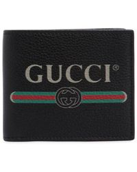 Gucci Print Leather Bi-fold Wallet - Black