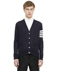 Thom Browne Intarsia Stripes Wool Cardigan - Blue