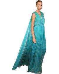 Alberta Ferretti シルクシフォン ロングドレス - ブルー