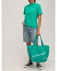 "Sporty & Rich Sac Cabas En Coton ""eat Veggies"" - Vert"
