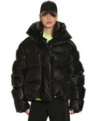 Juun.J Oversized Shiny Nylon Down Jacket - Black