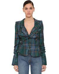 Vivienne Westwood Draped Tartan Wool Blazer - Green