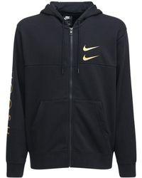Nike Sweat-shirt Zippé En Coton Mélangé À Capuche - Noir