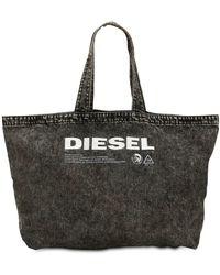 DIESEL - Bolso De Denim Lavado Con Logo Estampado - Lyst