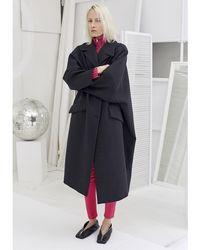 MM6 by Maison Martin Margiela Пальто Из Смешанной Шерсти - Серый