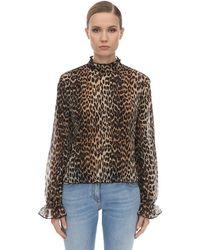 Ganni Плиссированная Блузка С Леопардовым Принтом - Коричневый