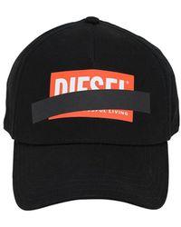 DIESEL - Printed Diagonal Logo Cotton Twill Hat - Lyst