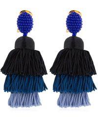 Oscar de la Renta Long Silk Tassel Earrings - Blue