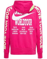 """Nike Hoodie Aus Fleece """"world Tour"""" - Pink"""