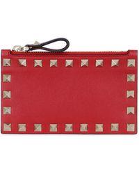 Valentino - Rockstud Leather Zip Card Holder - Lyst