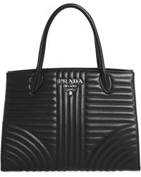 Prada - Quilted Soft Leather Top Handle Bag - Lyst