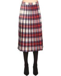 Boutique Moschino Wool Plaid Kilt Skirt - Red