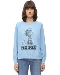 Marc Jacobs Sweatshirt Aus Baumwolljersey Mit Druck - Blau