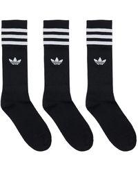 adidas Originals Хлопковые Носки 3 Пары - Черный