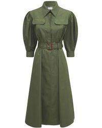 Alexander McQueen Платье Из Хлопка Поплин - Зеленый