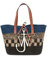 JW Anderson Embroidered Straw Tote Bag - Blue