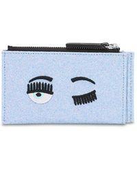 Chiara Ferragni Flirting Eye Glittered Card Holder - Blue