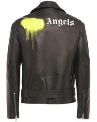Palm Angels Lederjacke Mit Logo - Schwarz