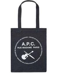 A.P.C. Tote Aus Denim Mit Logodruck - Mehrfarbig