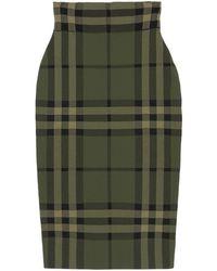 Burberry Kammie Check Silk Blend Pencil Skirt - Green