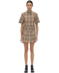 Burberry Платье Из Хлопка Поплин - Естественный