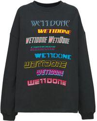 we11done Sweatshirt Aus Baumwollmischung Mit Logodruck - Schwarz