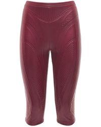 Mugler Glänzende Jersey-bikerhose Mit Prägung - Rot