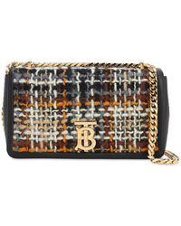 Burberry Kleine Tasche Lola aus buntem Tweed - Schwarz