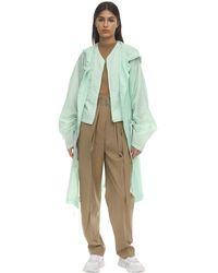 Colville Long Button Up Drawstring Raincoat - Green
