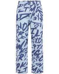 Jaded London Discharge Graffiti Skate Jeans - Blue