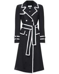 Thom Browne Knee Length Silk Trench Dress - Black