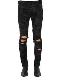 Balmain - 16cm Slim Camo Destroyed Denim Jeans - Lyst