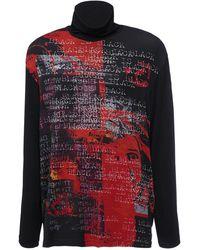 Yohji Yamamoto Rollkragenpullover Aus Viskosemischung Mit Druck - Mehrfarbig