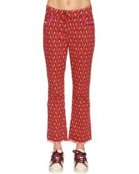 Etro - Printed Cotton Denim Cropped Jeans - Lyst