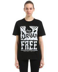 """Andrea Crews T-shirt Aus Jersey """"pablo Cots Drug Free"""" - Schwarz"""