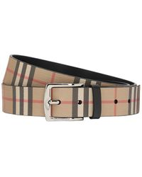 Burberry 35mm Reversible Check Faux Leather Belt - Natural