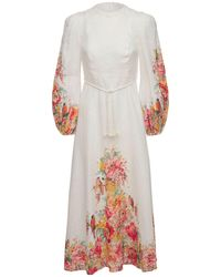 Zimmermann - Платье Миди Из Льна - Lyst