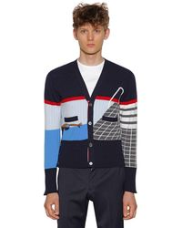 Thom Browne Intarsia Stripes Cashmere Sweater - Blue