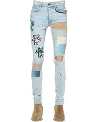 Amiri 15cm Thrasher Patch Cotton Denim Jeans - Blue